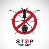 Vektor der Ameise im roten Stoppschild auf weißem Hintergrund Keine Ameisen Stockfotografie
