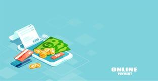 Vektor der elektronischen Rechnung, sms Mitteilung, Lohngeschichte, Finanzdatenschutz, Smartphone mit Kreditkarte stock abbildung