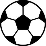 Vektor der flachen Schwarzweiss-Fußballikone lokalisiert auf weißem Hintergrund Vektor Abbildung