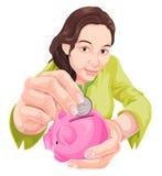 Vektor der Fraueneinsparung im Sparschwein Stockfotos