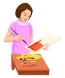 Vektor der Frauenmalerei auf Segeltuch Lizenzfreies Stockfoto