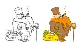 Vektor, der humorvollen Karikaturcharakter färbt Der reiche Millionär mit einem Stock und einer Tasche von Dollar Lizenzfreie Stockfotografie