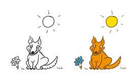 Vektor, der humorvollen Karikaturcharakter färbt Guter Hundehalsring, der auf dem Gras sitzt Die Sonne ist glänzend Lizenzfreie Stockbilder