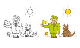 Vektor, der humorvollen Karikaturcharakter färbt Nette Militärgrenzwache mit einem Hund auf Leine und Flagge Lizenzfreie Stockbilder