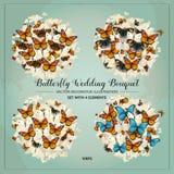 Vektor, der inspirierend Kartenelemente heiratet Gesetzte Illustration des Fliegenschmetterlings-Blumenstraußes romantischer Hint Lizenzfreie Stockbilder