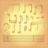 Vektor der musikalischen Anmerkung in der Kinderart Lizenzfreie Stockfotografie
