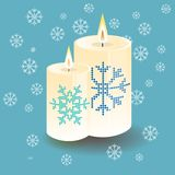 Vektor, der ringsum starke Kerze mit Schneeflocke beleuchtet stock abbildung