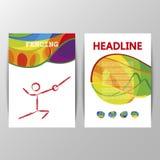 Vektor, der Sportbroschüre tempate Abdeckungs-Plakatdesign einzäunt stock abbildung