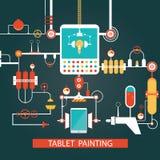 Vektor der Tablettenmalereitechnologie, Entwicklungsprozess für Inspektion Stockfotos