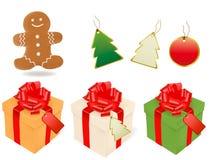 Vektor der Weihnachtsgeschenke und -elemente Lizenzfreies Stockbild