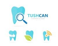Vektor der Zahn- und Lupenlogokombination Zahnmedizinisches und Lupensymbol oder -ikone Einzigartige Klinik und Suche Stockbild