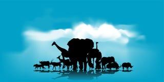 Vektor des afrikanischen Hintergrundes der wild lebenden Tiere Lizenzfreies Stockfoto