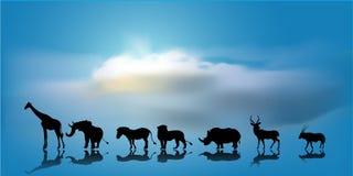 Vektor des afrikanischen Hintergrundes der wild lebenden Tiere Lizenzfreie Stockfotos