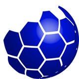 Vektor des blauen Logos des Fußballs 3D lokalisiert auf weißem Hintergrund Stock Abbildung