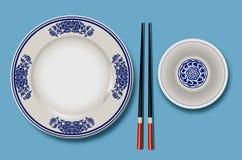 Vektor des chinesischen Porzellans mit Essstäbchen Lizenzfreie Stockbilder