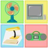 Vektor des Fans, des Fernsehens, der Lampe und der Radiokassette Lizenzfreies Stockfoto