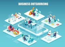 Vektor des Firmenangestellten arbeitend in den verschiedenen Büros entfernt gehandhabt vektor abbildung