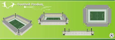 Vektor des Fußballstadions 3d Stockbilder