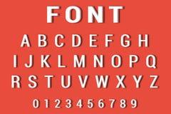 Vektor des Gusses 3d und des Alphabetes Alphabet und Zahlen auf rotem Hintergrund Stockbilder