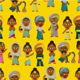 Vektor des indischen nahtlosen Musters der Karikatur Stockfotos