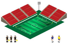 Vektor des isometrischen Fußballstadions Stockfotos