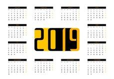 Vektor des Kalender-2019 lizenzfreie abbildung