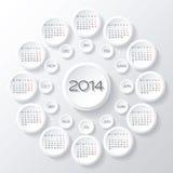 Vektor des Kalenders 2014 Stockfoto