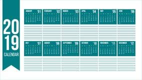 Vektor des Kalenders des neuen Jahres 2019 in der sauberen minimalen Tabelle mit leerem Platz für die Anmerkungen einfach in der  stock abbildung