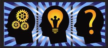 Vektor des menschlichen Kopfes des Lösens von Problemen Stockbild