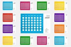 Vektor des neuen Jahres des Kalenders 2018, 12-monatiger Kalender stellte mit viv ein Stockbild