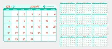 Vektor des neuen Jahres des Kalenders 2018 mit hellem Weinlesegrün und -re vektor abbildung