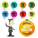Vektor des Rabatt--20 -30 -40 usw Vektorverkaufsaufkleber Stockfoto