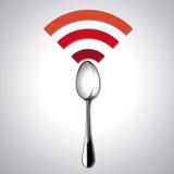 Vektor des Restaurantstandorts geben WiFi frei Stockbild