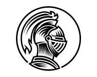 Vektor des Rittersturzhelms, konnte Gebrauch als Logoikone oder -avatara sein lizenzfreie abbildung
