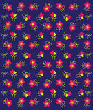 Vektor des rosa Blumen-Musters auf blauem Hintergrund Lizenzfreie Stockbilder