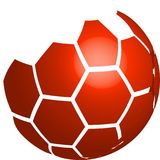 Vektor des roten Logos des Fußballs 3D lokalisiert auf weißem Hintergrund Vektor Abbildung