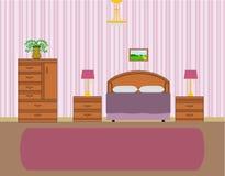 Vektor des Schlafzimmerinnenraums Stockbilder