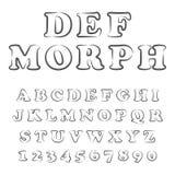 Vektor des stilisierten mutigen Gusses und des Alphabetes stock abbildung