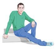 Vektor des stilvollen Mannes sitzend auf Schritten Stockfoto