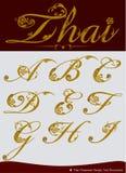 Vektor des thailändischen kalligraphischen Alphabetes stellte ein Stockfotos