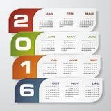 Vektor-Designschablone des Kalenders des übersichtlichen Designs 2016-jährige Lizenzfreies Stockfoto