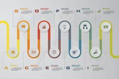 Vektor-Designschablone mit 10 Schritten der Zeitachse infographic Kann für Arbeitsflussprozesse, Diagramm, Zahlwahlen, Zeitachse  lizenzfreie abbildung