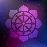 Vektor Dharma Wheel in Lotus Flower auf einem kosmischen Hintergrund Lizenzfreie Stockfotos