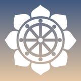 Vektor Dharma Wheel in Lotus Flower auf einem natürlichen Hintergrund Stockfotos