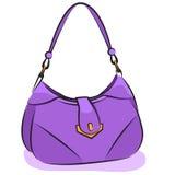 Vektor. Die purpurrote Handtasche der Frauen stock abbildung