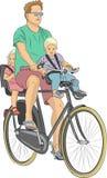 Vektor Die Radfahrenfamilie Lizenzfreie Stockbilder