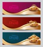 Vektor Diwali-Fahnen-Design Templat Lizenzfreie Stockfotos