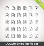 Vektor-Dokumenten-Ikonen-gesetzter Entwurf Stockfotos