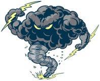 Vektor-Donner-Wolken-Sturm-Tornado-Maskottchen mit Blitz-Bolzen