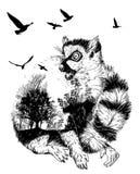 Vektor-Doppelbelichtung, Hand gezeichnete Katta stock abbildung